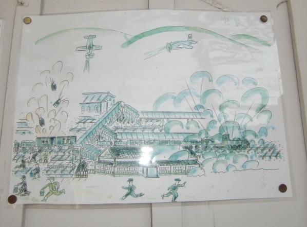 米軍機による空襲の模様を描いた冨田さんの水彩画(JR橋本駅に張り出し「ノーモア戦争」を訴えた)