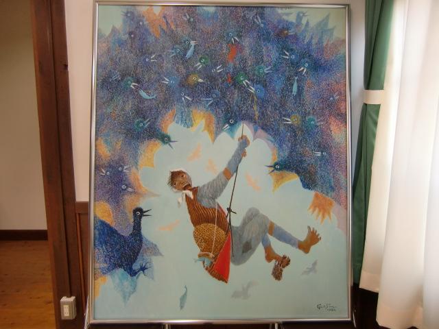 澤村・元校長がユーモラスに描いた「鴨とり権兵衛」の絵