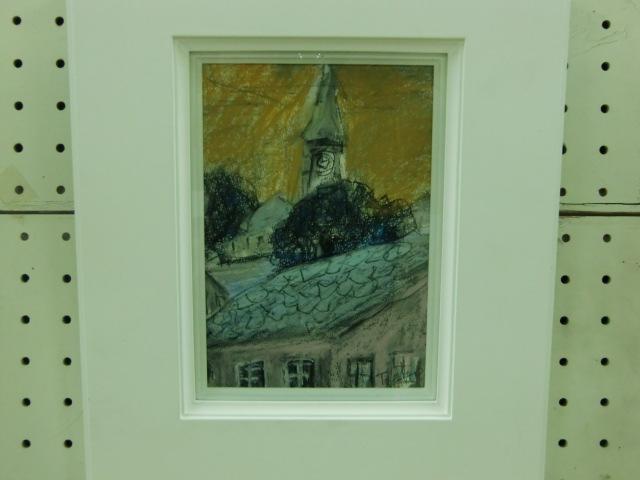 森川さん夫婦がスイス旅行先で見た「時計台」を描いた絵