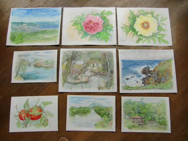出展を予定している堀江さんの水彩画