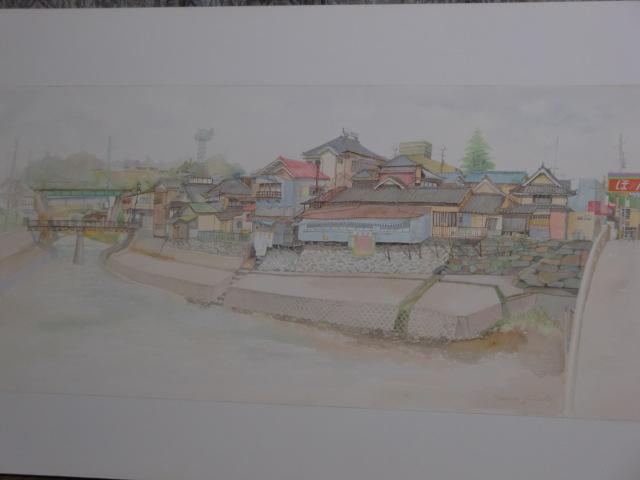堀江さんが松ヶ枝橋から見て橋本川の東側を描いた風景
