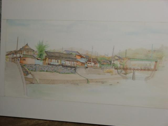 堀江さんが松ヶ枝橋から見て描いた橋本川の西側の風景
