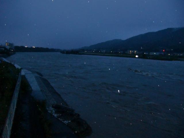 大滝ダム放流で増水し濁流が渦巻く橋本橋上流の紀ノ川