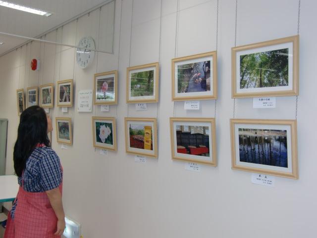 橋本市図書館に飾られた「生き生き学園・写真クラブ」の作品