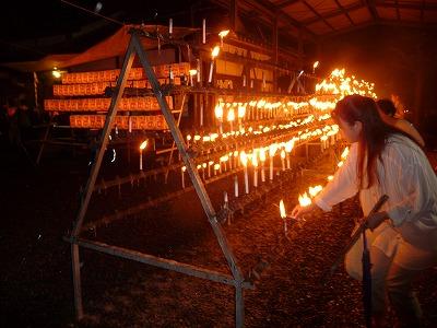 風雨の中、光三宝荒神・献灯祭~灯明消えては灯す