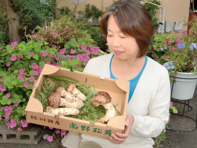 橋本の市場に入荷した見事なマツタケ