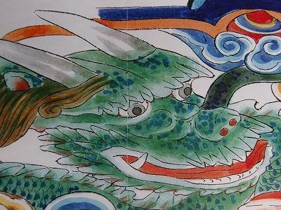 発見された〝蛙股〟に施す龍の彩色(同じ寸法の下絵)