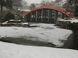 太鼓橋のかかる鏡池の氷の上にも雪が積もる