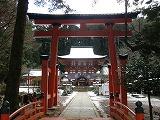 鳥居の向こうに見える丹生都比売神社の楼門