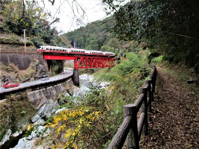 電車、龍王渓を颯爽と♡九度山・遊歩道は一幅の絵